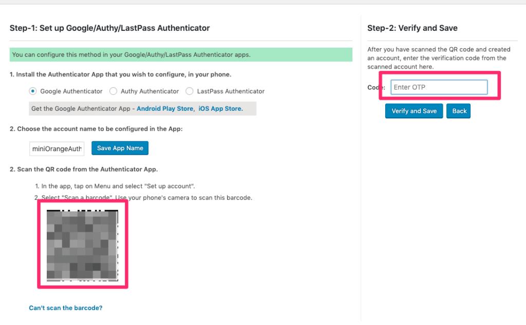 スマホ二段階認証アプリ「Google Authenticator」で、PC画面上に出てきたQRコードをスキャンします。 スマホアプリ側で6桁の数字が出力されますので、そのコードを右の「Code」部分に入力します。