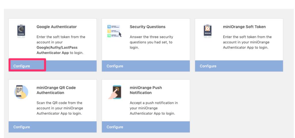 今回Google Authenticatorを使用するので、次の「Configure」を選択します。